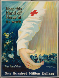 "World War I Propaganda Poster (Red Cross, 1918). Poster (20.5"" X 27.5"") ""Keep This Hand of Mercy at its W..."