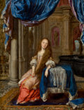 Fine Art - Painting, European:Antique  (Pre 1900), Attributed to ISAACK PALING (Dutch, 1664-1703). A Woman in theInterior of a Palace. Oil on panel. 14-5/8 x 11 inches (3...
