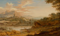 Fine Art - Painting, European:Antique  (Pre 1900), JOHANN CHRISTIAN VOLLERDT (German, 1708-1769). View inItaly, 1754. Oil on wood panel. 9 x 14-1/2 inches (22.9 x 36.8cm...