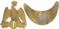 Antiques:Antiquities, Lot of One French Helmet Plate and One Gorget.... (Total: 2 )