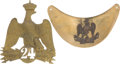Antiques:Antiquities, Lot of One French Helmet Plate and One Gorget.... (Total: 2 Items)