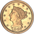 Liberty Quarter Eagles, 1847-O $2 1/2 MS61 NGC. Variety 1....