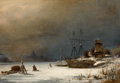 Fine Art - Painting, European:Antique  (Pre 1900), ALBERT BERG (German, 1825-1884). Snow Scene, 1876. Oil on canvas . 24-1/2 x 35 inches (62.2 x 88.9 cm). Signed and dated...
