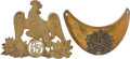 Antiques:Antiquities, Lot of One French Military Helmet Plate and One Gorget.... (Total:2 )