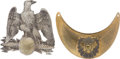 Antiques:Antiquities, Lot of One French Military Helmet Plate and One Gorget.... (Total: 2 Items)