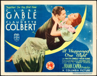 """It Happened One Night (Columbia, 1935). Autographed Title Lobby Card (11"""" X 14"""")"""