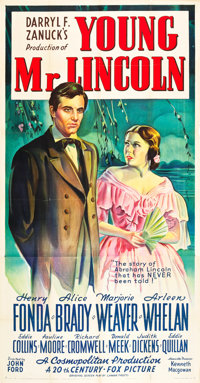 "Young Mr. Lincoln (20th Century Fox, 1939). Three Sheet (41"" X 81"") Style B"