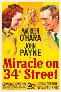 "Miracle on 34th Street (20th Century Fox, 1947). One Sheet (27"" X 41"")"