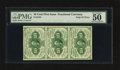 Fractional Currency:First Issue, Vertical Strip of Three Fr. 1242 10¢ First Issue PMG AboutUncirculated 50 EPQ.. ...