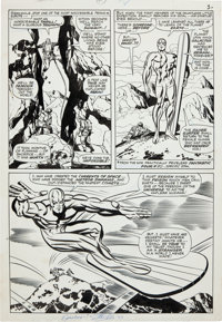 Jack Kirby and Joe Sinnott Fantastic Four #55 Spectacular Silver Surfer Half-Splash Page 3 Original Art (Marvel, 1