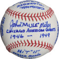 "Autographs:Baseballs, John ""Mule"" Miles Lengthy Inscription Single Signed Ball...."