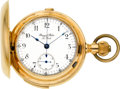 Timepieces:Pocket (post 1900), Bernard Reber, Swiss, 14k Gold Quarter Hour Repeater WithChronograph, circa 1890. ...