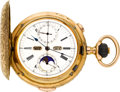 Timepieces:Pocket (pre 1900) , Swiss Gold Quarter Hour Repeater With Calendar & Moon Phase,circa 1890's. ...