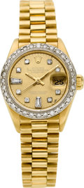 Timepieces:Wristwatch, Rolex Ref. 6917 Lady's Gold President With Diamonds, circa 1982. ...