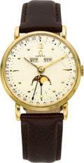 Timepieces:Wristwatch, Omega Ref. 2473 Gold Calendar With Moon Phase, circa 1950's. ...