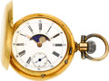 Timepieces:Pocket (pre 1900) , Swiss 18k Gold Double Dial Moon Phase Calendar, circa 1885. ...