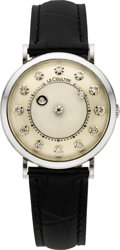 Timepieces:Wristwatch, LeCoultre Gold Diamond Mystery Dial Wristwatch, circa 1950's. ...
