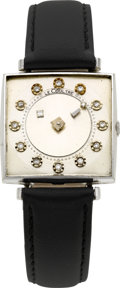 Timepieces:Wristwatch, LeCoultre Square Diamond Mystery Dial Watch, circa 1955. ...