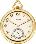 Timepieces:Pocket (post 1900), Cartier Gold Pocket Watch By European Watch & Clock Co., circa 1920's. ...