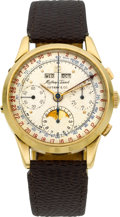 Timepieces:Wristwatch, Mathey Tissot Gold Chronograph With Triple Calendar & MoonPhase For Tiffany & Co., circa 1940's. ...