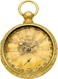 Timepieces:Pocket (pre 1900) , S.I. Tobias 18k Gold Lever Fusee With Multicolor Gold Dial, circa1840. ...