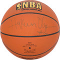 """Basketball Collectibles:Balls, Hakeem Olajuwon Signed Official Leather """"Spalding"""" NBABasketball...."""