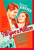 "Movie Posters:Comedy, I'll Give a Million (20th Century Fox, 1938). Poster (40"" X 60"")....."