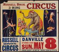 "Circus Poster (Russell Brothers, 1938). Poster (28"" X 42"") With Attached Date and Place Snipe (10.5"" X 42..."