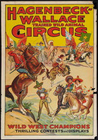"""Circus Poster (Hagenbeck-Wallace, 1930s). Poster (28"""" X 41""""). Miscellaneous"""