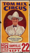 """Movie Posters:Western, Tom Mix Circus Poster (Tom Mix Circus, 1937). Poster (28"""" X 42"""") With Attached Date and Place Snipe (9.5"""" X 28""""). Circus.. ..."""