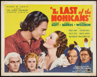 """The Last of the Mohicans (United Artists, 1936). Half Sheet (22"""" X 28""""). Adventure"""