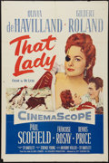 "Movie Posters:Adventure, That Lady and Others Lot (20th Century Fox, 1955). One Sheets (2)(27"" X 41""), British One Sheet (27"" X 40"") and Lobby Card ...(Total: 4 Items)"