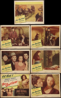 "The Outlaw (United Artists, 1946). Title Lobby Card and Lobby Cards (6) (11"" X 14""). Western. ... (Total: 7 It..."