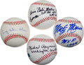 Autographs:Baseballs, Baseball Greats With Lengthy Inscription Single Signed Ball Lot Of4....