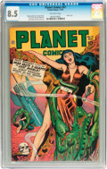 Golden Age (1938-1955):Science Fiction, Planet Comics #51 (Fiction House, 1947) CGC VF+ 8.5 Off-whitepages....