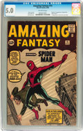 Silver Age (1956-1969):Superhero, Amazing Fantasy #15 (Marvel, 1962) CGC VG/FN 5.0 Off-white pages....