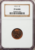 Proof Lincoln Cents, 1913 1C PR64 Red NGC....