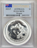 Australia, 2012-P $1 Dragon, First Strike MS70 PCGS. PCGS Population (5469).NGC Census: (0). The image displayed is a stock photo o...