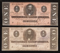 Confederate Notes:1864 Issues, T71 $1 1864 Two Examples.. ... (Total: 2 notes)