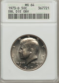 Kennedy Half Dollars, 1973-D 50C Double Die Obverse MS64 ANACS. NGC Census: (56/214).PCGS Population (73/415). Mintage: 83,171,400. Numismedia W...