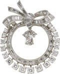 Estate Jewelry:Brooches - Pins, Diamond, Platinum Pendant-Brooch, circa 1950. ...