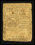 Colonial Notes:Continental Congress Issues, Continental Currency February 17, 1776 $1/3 Very Good-Fine.. ...
