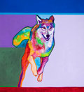 Paintings, JOHN NIETO (American, b. 1936). Running Wolf, 1999. Acrylic on canvas . 44 x 40 inches (111.8 x 101.6 cm). Signed lower ...