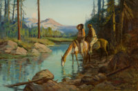 GORDON COUTTS (American, 1880-1937) Indian Scouts Oil on artists' board 24 x 35-1/2 inches (61.0