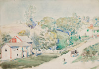 CHILDE HASSAM (American, 1859-1935) Country Road Watercolor on paper 14 x 20 inches (35.6 x 50.8