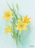 Fine Art - Painting, American, MARION KAVANAUGH WACHTEL (American, 1876-1954). YellowLilies. Watercolor on paper. 17-3/4 x 12-3/4 inches (45.1 x32.4 ... (Total: 1 Pieces)