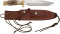 Edged Weapons:Knives, Randall Model 14 Attack Knife with Early Scabbard....