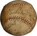 Autographs:Baseballs, 1928 New York Yankees Partial Team Signed Baseball with Huggins,G.C. Alexander....