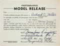 Movie/TV Memorabilia:Autographs and Signed Items, A Marilyn Monroe Signed 'Photographic Model Release' Form, 1946....