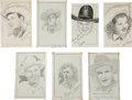 Movie/TV Memorabilia:Autographs and Signed Items, A Set of Western Entertainer Signed Sketches.... (Total: 8 Items)